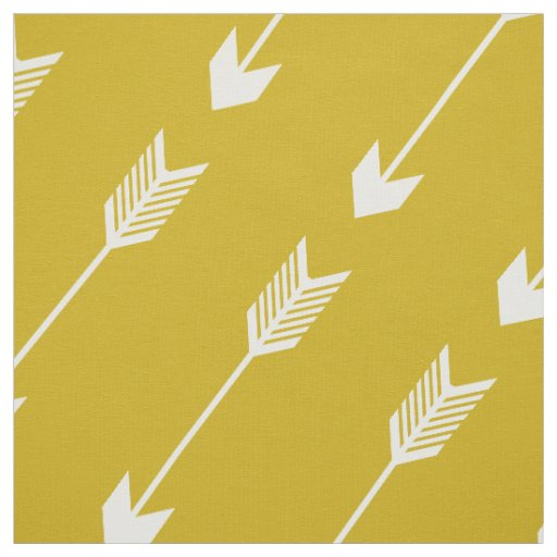 Mustard Yellow Tribal Arrows Pattern Fabric