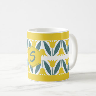 Mustard Yellow Tulips Floral Pattern Monogram Coffee Mug