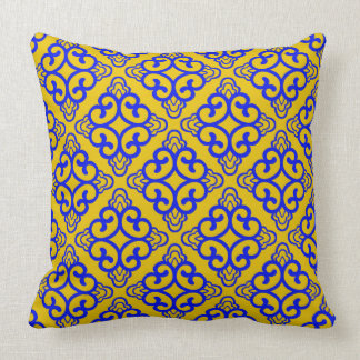 Mustard Yellow Vintage Chinese Square Floral Cushion