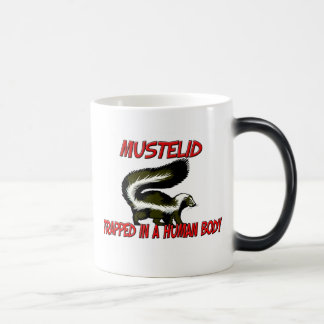 Mustelid trapped in a human body mug
