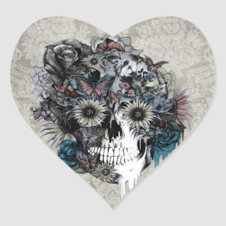 Mute, sunflower skull damask heart sticker
