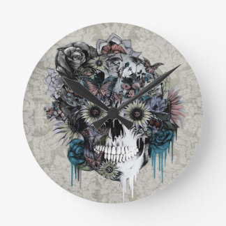 Mute, sunflower skull damask round clock