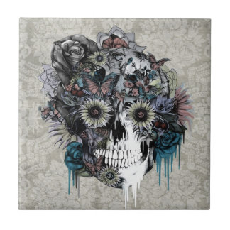 Mute, sunflower skull damask tile