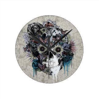 Mute, sunflower skull damask wallclocks