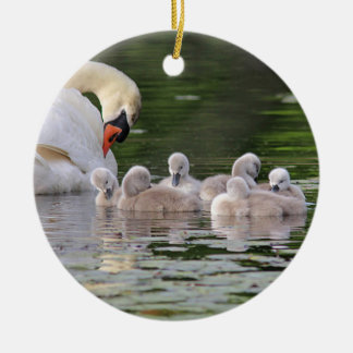 Mute swan and cygnets christmas ornament
