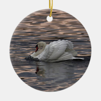 Mute swan at sunset round ceramic decoration