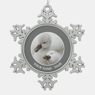 Mute Swan Cygnets Snowflake Pewter Christmas Ornament