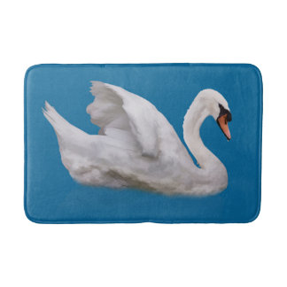 Mute Swan on Blue Bath Mats