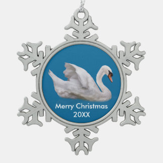 Mute Swan on Blue, Customizable Text Pewter Snowflake Decoration