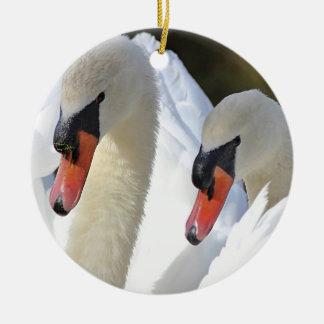 Mute swan pair christmas ornament