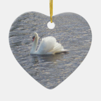 Mute Swan Swimming on the Lake Ceramic Heart Decoration