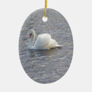 Mute Swan Swimming on the Lake Ceramic Oval Decoration