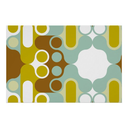muted abstract retro art geometric india pattern poster
