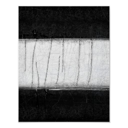 'Muted' Black and White Abstract Art Poster
