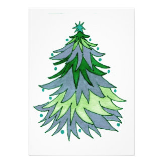 Muted Blue and Greens Christmas Tree Invitations