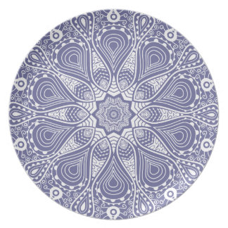 Muted Blue & White Floral Circle Retro Lace Plate