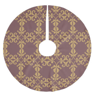 Muted Brown Floral Brushed Polyester Tree Skirt