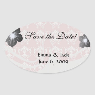 muted carnation pink and cream white damask oval sticker