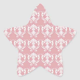 muted carnation pink and cream white damask sticker