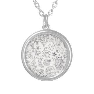 Muted Desert Pattern Round Pendant Necklace