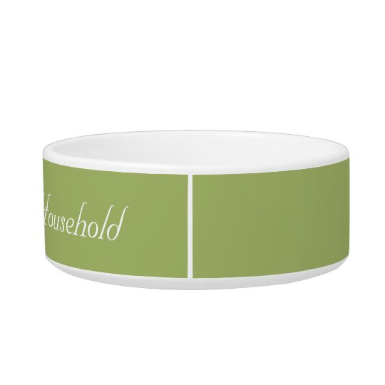 "Muted-Green ""Head of Household"" Cat Food Dish"