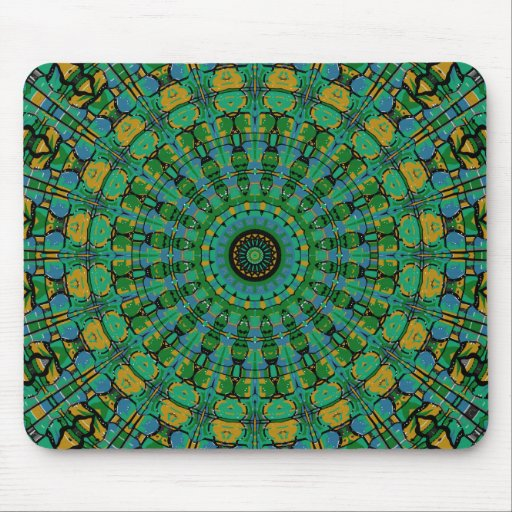 Muted Green Spiral Kaleidoscope Mouse Pad