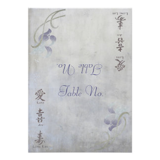 Muted Iris - Chinese Blessings (Table Number) Cards