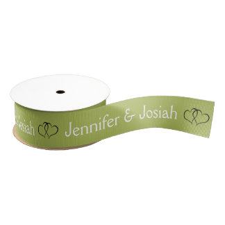 Muted Lime Green Personalized Heart Simple Elegant Grosgrain Ribbon