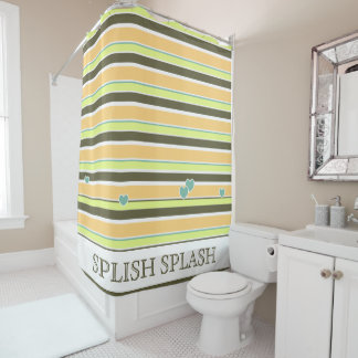 Muted Neapolitan Stripes and Hearts Shower Curtain