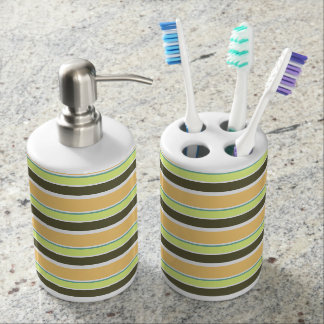 Muted Neapolitan Stripes Soap Dispenser And Toothbrush Holder