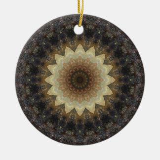 Muted Pastels Seashells Mandala Kaleidoscope Round Ceramic Decoration