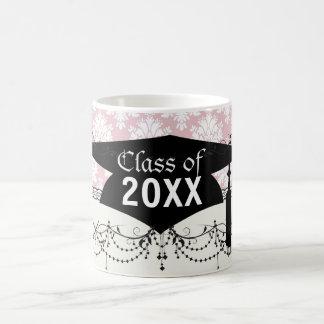 muted pink and white cream damask graduation classic white coffee mug