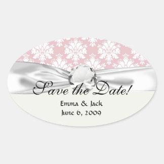 muted pink and white cream damask pattern oval sticker