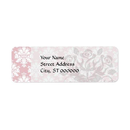 muted pink and white cream damask pattern return address label