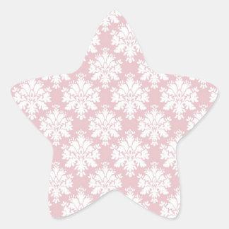 muted pink and white cream damask pattern star sticker