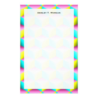 Muted Pink Aqua Yellow Shaded 3D Look Cubes Customised Stationery