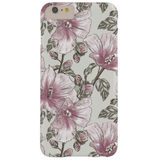 Muted Pink Hibiscus Flowers Pattern Barely There iPhone 6 Plus Case