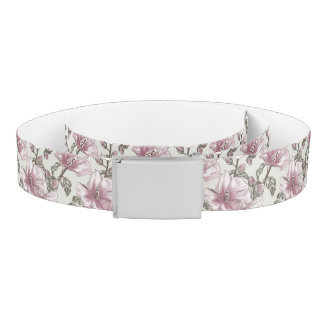Muted Pink Hibiscus Flowers Pattern Belt