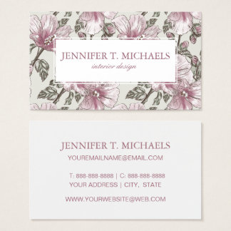 Muted Pink Hibiscus Flowers Pattern Business Card