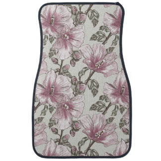 Muted Pink Hibiscus Flowers Pattern Car Mat