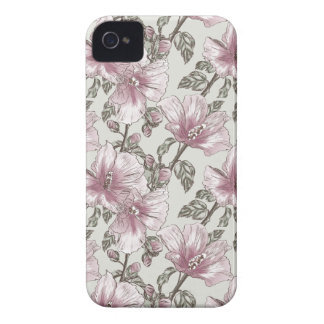 Muted Pink Hibiscus Flowers Pattern Case-Mate iPhone 4 Case