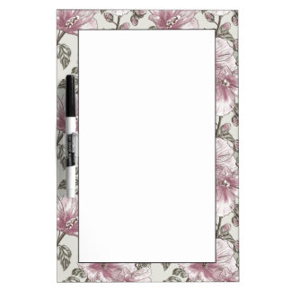Muted Pink Hibiscus Flowers Pattern Dry Erase Board