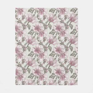 Muted Pink Hibiscus Flowers Pattern Fleece Blanket