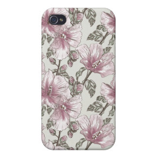 Muted Pink Hibiscus Flowers Pattern iPhone 4 Covers