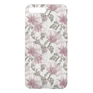 Muted Pink Hibiscus Flowers Pattern iPhone 8 Plus/7 Plus Case