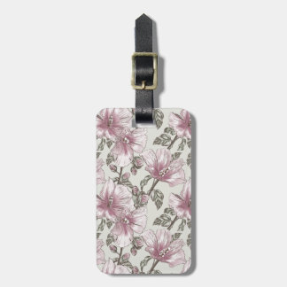 Muted Pink Hibiscus Flowers Pattern Luggage Tag