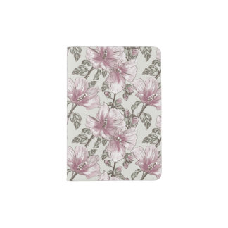 Muted Pink Hibiscus Flowers Pattern Passport Holder