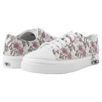 Muted Pink Hibiscus Flowers Pattern Printed Shoes