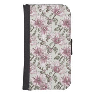 Muted Pink Hibiscus Flowers Pattern Samsung S4 Wallet Case