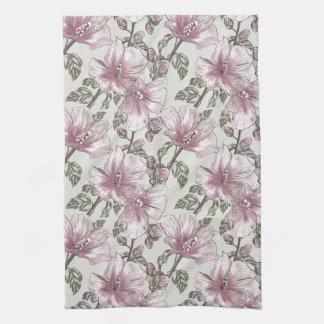 Muted Pink Hibiscus Flowers Pattern Tea Towel